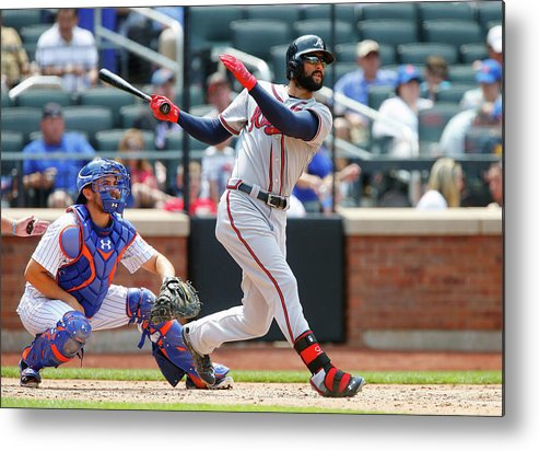 Following Metal Print featuring the photograph Nick Markakis by Jim Mcisaac