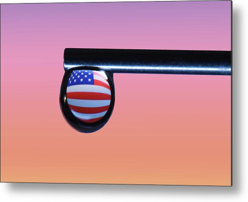 Macro Metal Print featuring the photograph Old Glory by Jim Painter