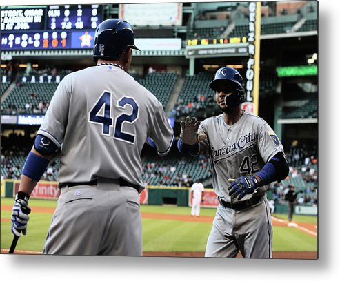 American League Baseball Metal Print featuring the photograph Omar Infante and Billy Butler by Scott Halleran