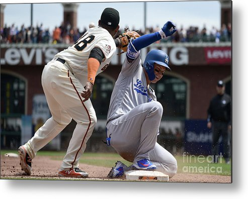 San Francisco Metal Print featuring the photograph Pablo Sandoval and Joc Pederson by Thearon W. Henderson