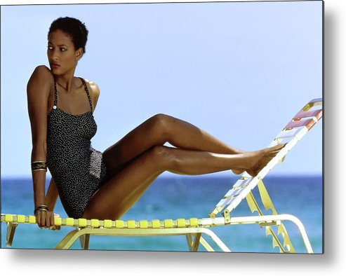 Fashion Metal Print featuring the photograph Peggy Dillard in a Polkadot Swimsuit by Guy le Baube
