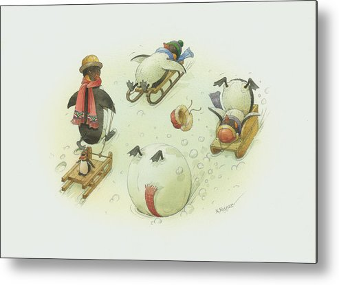 Christmas Penguins Winter White Holiday Metal Print featuring the painting Penguins Christmas by Kestutis Kasparavicius