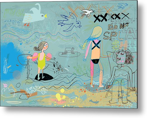 Child Metal Print featuring the drawing People on the beach having fun by Beastfromeast