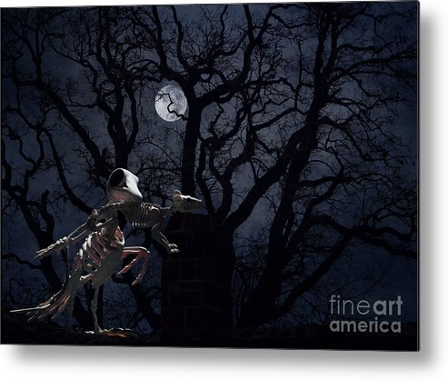 Raven Metal Print featuring the photograph Raven and Rat Skeleton in Moonlight - Halloween by Colleen Cornelius