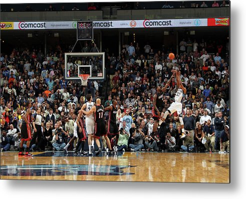 Nba Pro Basketball Metal Print featuring the photograph Rudy Gay and Lebron James by Joe Murphy
