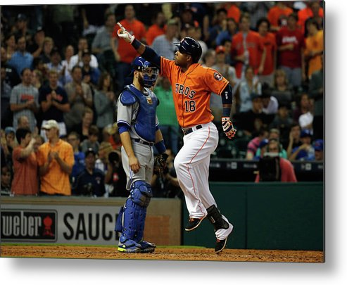People Metal Print featuring the photograph Russell Martin and Luis Valbuena by Scott Halleran