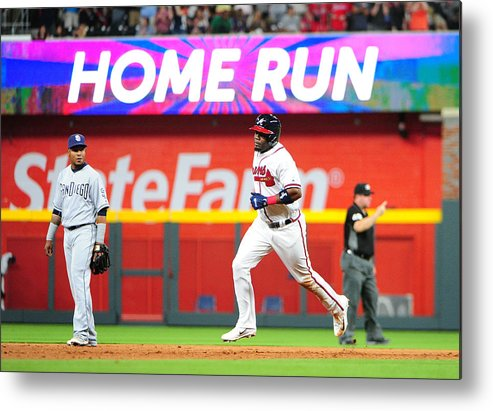 Atlanta Metal Print featuring the photograph San Diego Padres v Atlanta Braves by Scott Cunningham