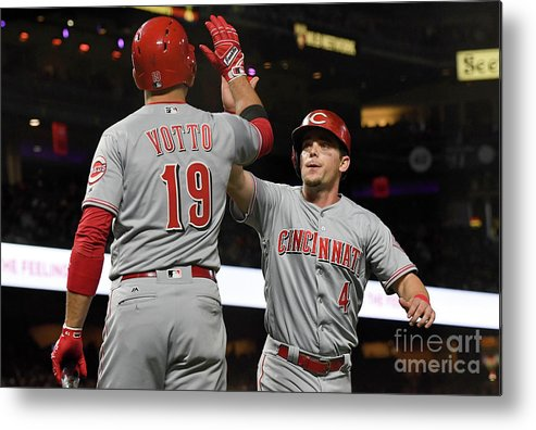 San Francisco Metal Print featuring the photograph Scooter Gennett and Joey Votto by Thearon W. Henderson
