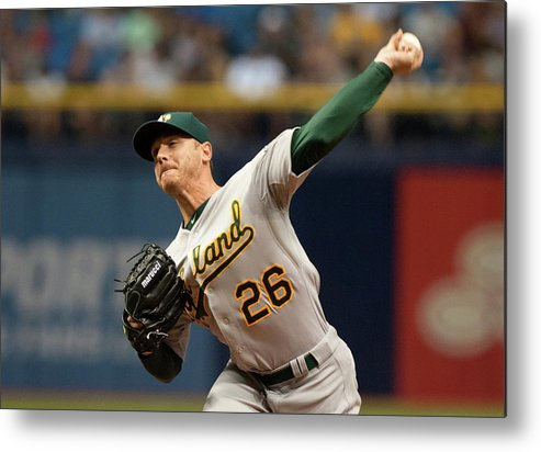 Three Quarter Length Metal Print featuring the photograph Scott Kazmir by Cliff Mcbride