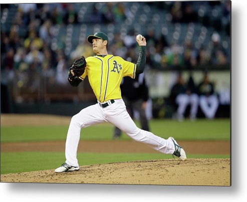 American League Baseball Metal Print featuring the photograph Scott Kazmir by Ezra Shaw