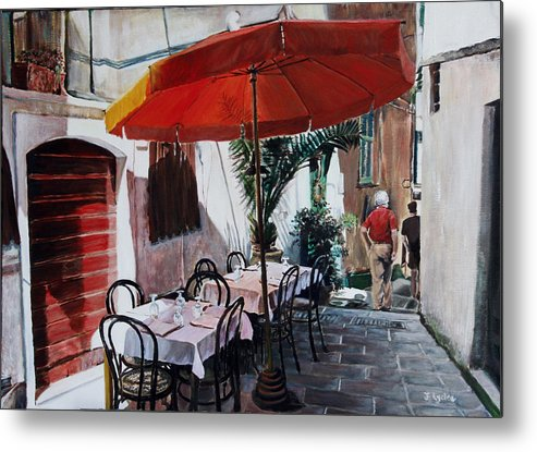 Cafe Metal Print featuring the painting Red Umbrella Outdoor Cafe by Jennifer Lycke