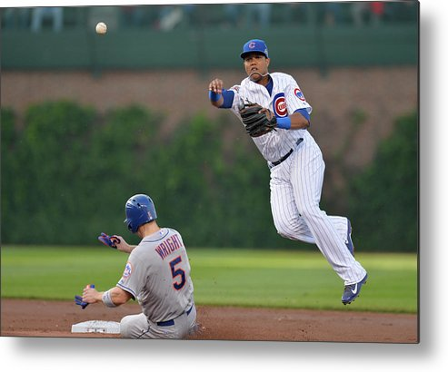 Double Play Metal Print featuring the photograph Starlin Castro, Curtis Granderson, and David Wright by Brian Kersey