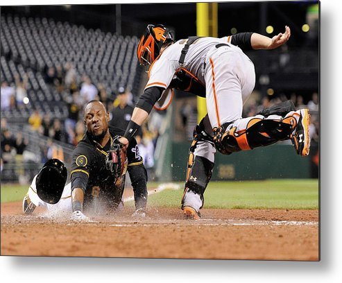 Ninth Inning Metal Print featuring the photograph Starling Marte and Buster Posey by Joe Sargent