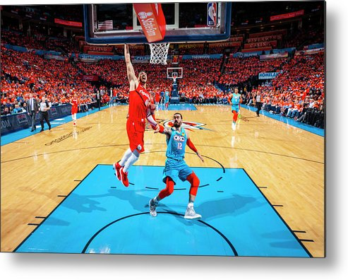 Playoffs Metal Print featuring the photograph Steven Adams and Enes Kanter by Zach Beeker