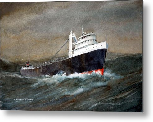 Ships Metal Print featuring the painting The John J Boland by Charles Rowland