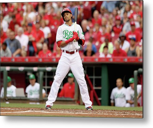 Great American Ball Park Metal Print featuring the photograph Todd Frazier and Billy Hamilton by Andy Lyons