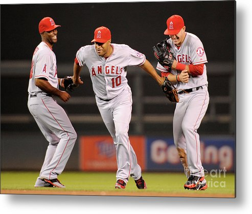 American League Baseball Metal Print featuring the photograph Torii Hunter, Vernon Wells, and Mike Trout by Hannah Foslien