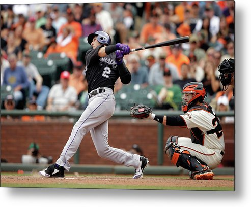 San Francisco Metal Print featuring the photograph Troy Tulowitzki by Ezra Shaw