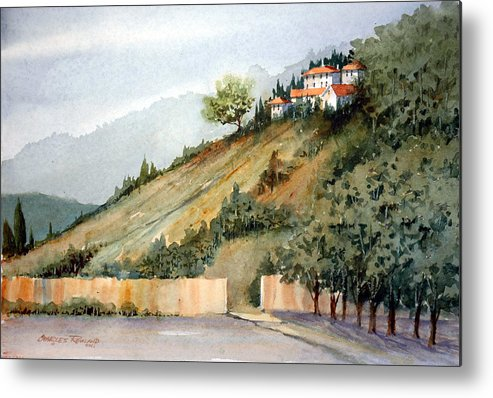 Tuscan Metal Print featuring the painting Tuscan Hills by Charles Rowland