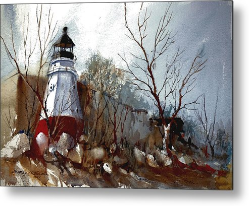 Lighthouse Metal Print featuring the painting vermilion Lighthouse by Charles Rowland