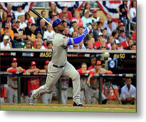 American League Baseball Metal Print featuring the photograph Yasiel Puig by Rob Carr
