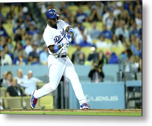 American League Baseball Metal Print featuring the photograph Yasiel Puig by Stephen Dunn