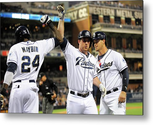 Second Inning Metal Print featuring the photograph Yasmani Grandal, Cameron Maybin, and Jedd Gyorko by Denis Poroy