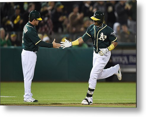 Yoenis Cespedes Metal Print featuring the photograph Yoenis Cespedes and Mike Gallego by Thearon W. Henderson