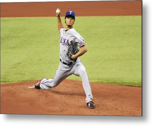 American League Baseball Metal Print featuring the photograph Yu Darvish by Al Messerschmidt