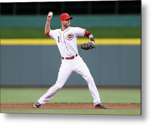 Great American Ball Park Metal Print featuring the photograph Zack Cozart by Andy Lyons