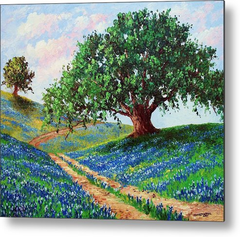 Bluebonnet Metal Print featuring the painting Bluebonnet Road by David G Paul
