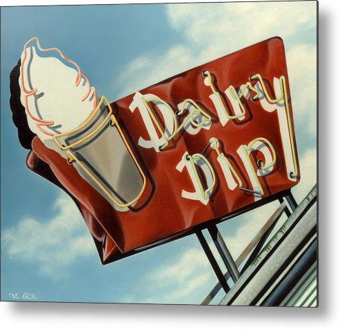Neon Metal Print featuring the painting Dairy Dip by Van Cordle