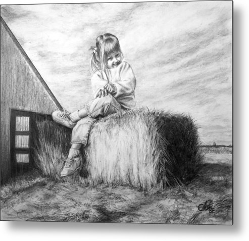 Farm Metal Print featuring the drawing Farm Girl by Arthur Fix
