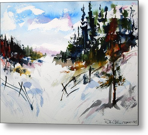 Snow Winter Scene Landscapes Forests Countryside Metal Print featuring the painting Hockley Valley Snows by Wilfred McOstrich