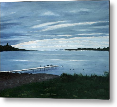 Seascape Metal Print featuring the painting Lake Champlain Islands by Monika Degan
