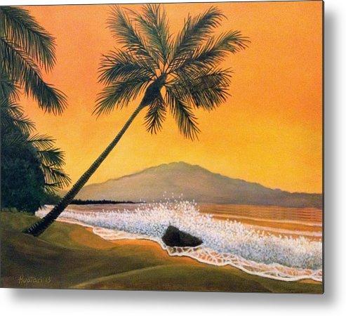 Rick Huotari Metal Print featuring the painting Maui Sunset by Rick Huotari