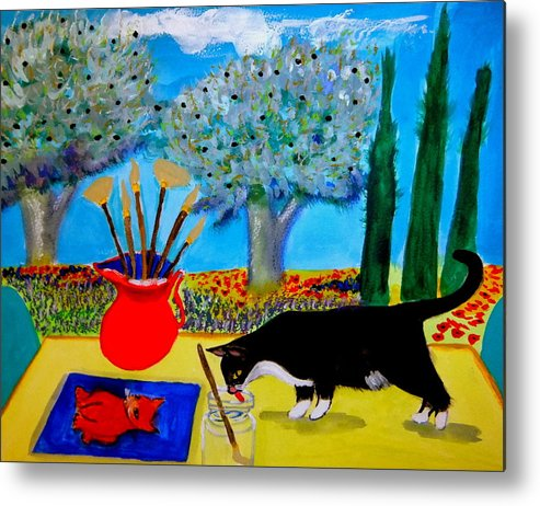 Provence Metal Print featuring the painting Painting is thirsty work by Rusty Gladdish