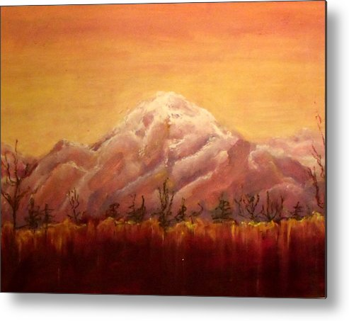 Sunset Metal Print featuring the pastel Alaskan Sunset by Patricia Halstead