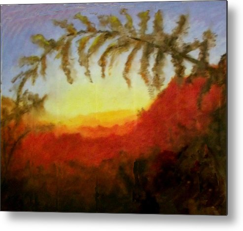 Fern Metal Print featuring the painting Sunset by Patricia Halstead