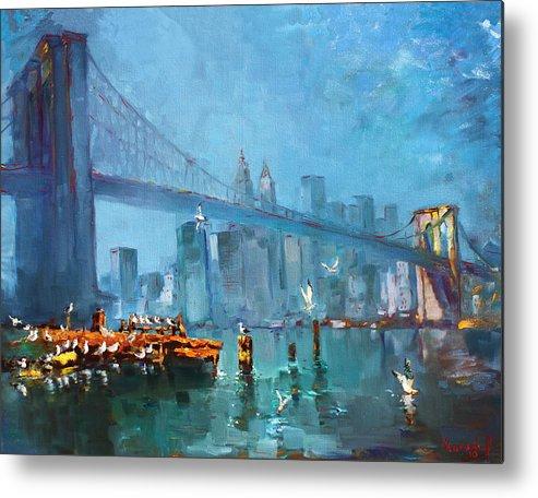 Landscape Metal Print featuring the painting Brooklyn Bridge by Ylli Haruni