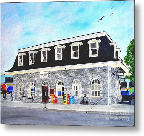 Oldest Cn / Grand Trunk Station In Canada Painting Metal Print featuring the painting CN Station Belleville Circa 1856 by Peggy Holcroft