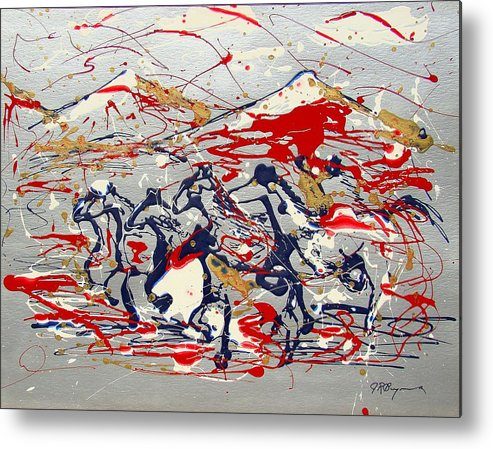 Impressionist Painting Metal Print featuring the painting Freedom On The Range by J R Seymour