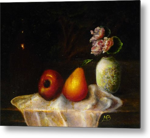 Oil Painting Metal Print featuring the painting Fruits With Green China Vase by MM Zurahov