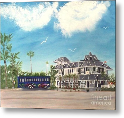 Florida Painting Metal Print featuring the painting Hurricane Restaurant Pass A Grill Florida by Peggy Holcroft