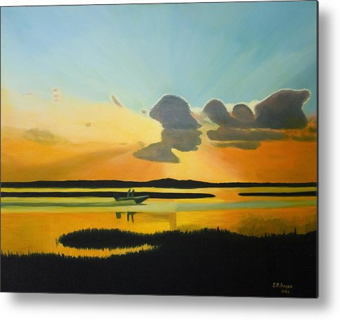 Seascape Metal Print featuring the painting Laura's Sunset by Stephen Degan