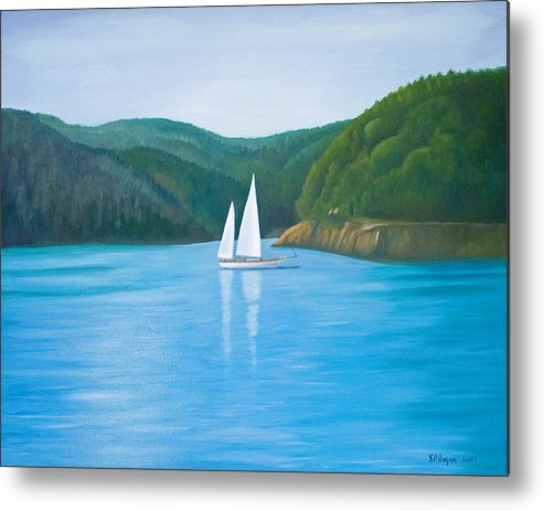 Seascape Metal Print featuring the painting Mason's Sailboat by Stephen Degan