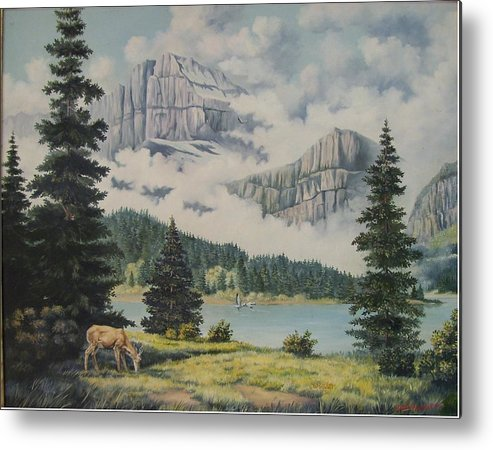Glacier Nat. Park Metal Print featuring the painting Morning At The Glacier by Wanda Dansereau