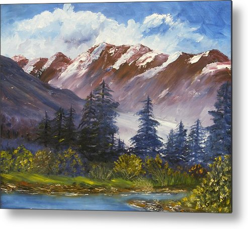 Oil Painting Metal Print featuring the painting Mountains I by Lessandra Grimley