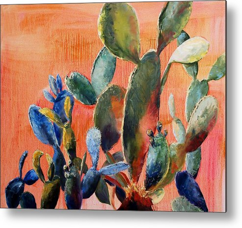 Cactus Metal Print featuring the painting Prickly Pear by Lynee Sapere