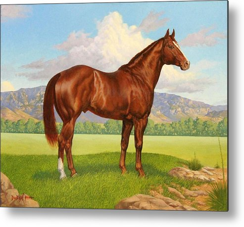 Zantanon Foundation Quarter Horse Sire Metal Print featuring the painting Zantanon by Howard DUBOIS